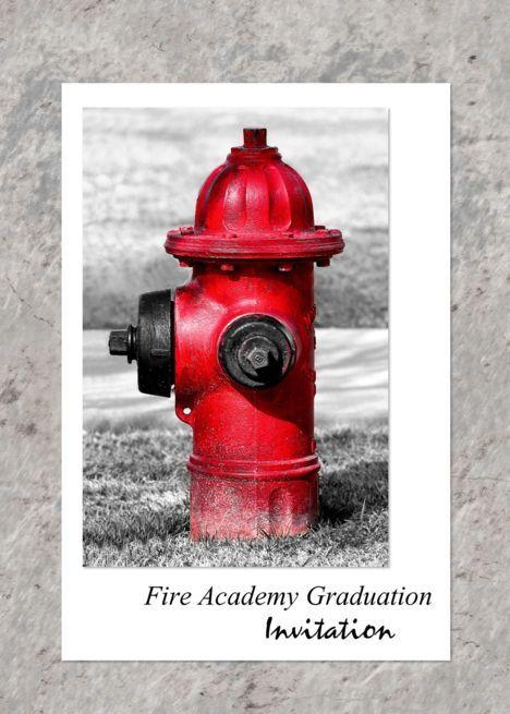 Fire Academy Graduation Invitation Red