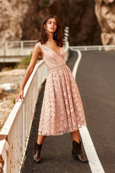 Tuvanam For Trendyol Somon Uc Boyutlu Cicek Aplikeli Abiye Elbise Elbise Aksamustu Giysileri Balo Elbiseleri
