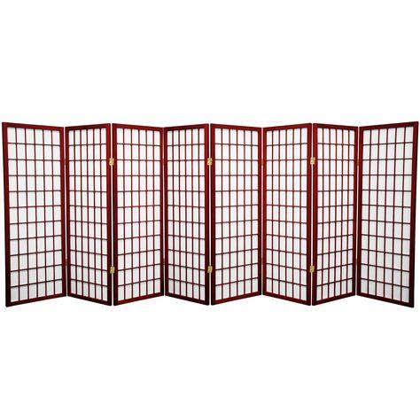 4 Ft Tall Window Pane Shoji Screen Rosewood 8 Panels Red Paper Privacy Screens Indoor Shoji Screen Red Lantern