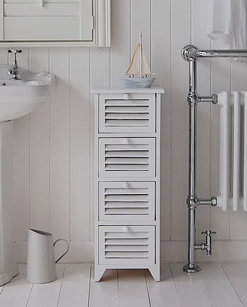 Slim White Painted Bathroom Cabinet