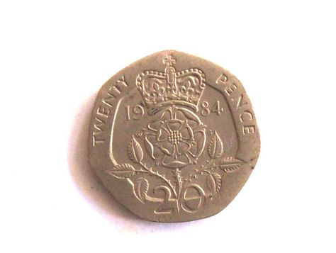 Vintage England 1984 20 Pence Coin Roses By Troiloartevintage