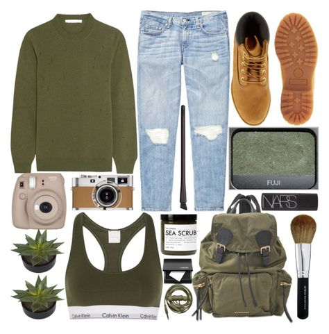 """""""Untitled #481"""" by inkcoherent ❤ liked on Polyvore featuring Calvin Klein Underwear, rag & bone, Givenchy, Timberland, Burberry, Bare Escentuals, NARS Cosmetics, Hermès, Fig+Yarrow and Fujifilm"""