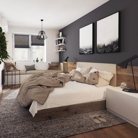 Trendige Farben Fabelhafte Schlafzimmergestaltung in Grau-Blau - schlafzimmer farben feng shui