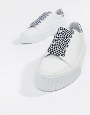 Pull Bear Pull Bear Check Lace Up Flatform Sneaker In White Flatform Sneakers Flatform Trainers Sneakers