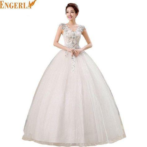 2016 New Fashion Princess Korean Style Wedding Dresses Floor-length V-neck Lace up Wedding Dress