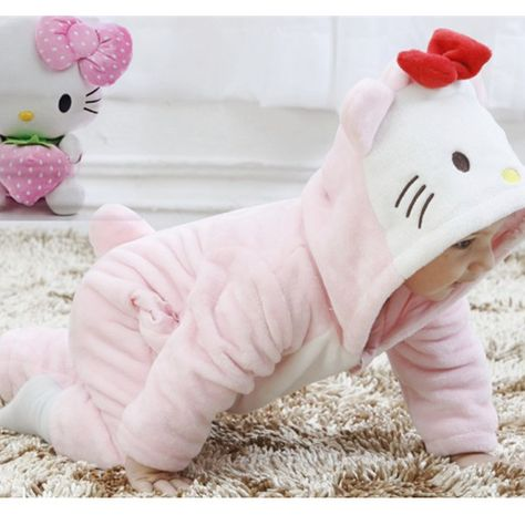 Hello Kitty Baby Girls Winter Cute Flannel Rompers