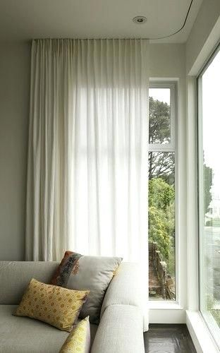 Corner Window Curtain Rods Modern Curtains On Recessed Track