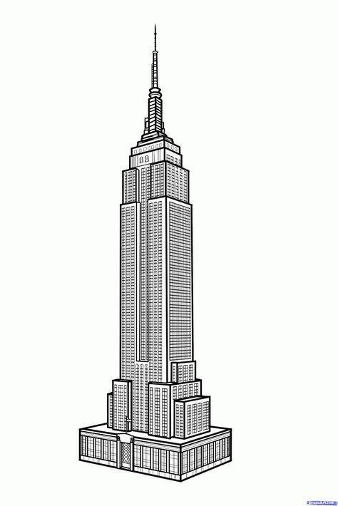 How To Draw The Empire State Building Empire State Building Step