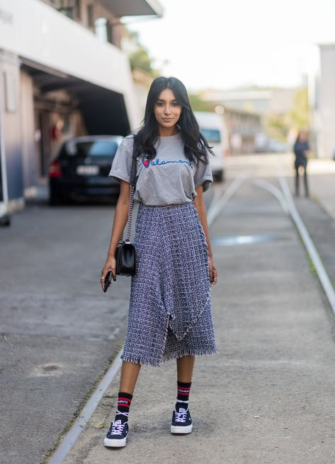 How to Pull Off Wearing Sneakers With Skirts (and Dresses) This Summer