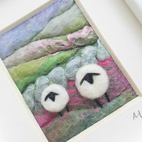 Sheep on a Rolling Hillside needle felted and hand | Etsy