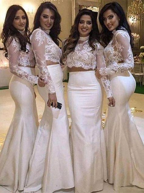 61947284d39 Exquisite Tulle   Satin High-neck 2 Pieces Mermaid Bridesmaid ...