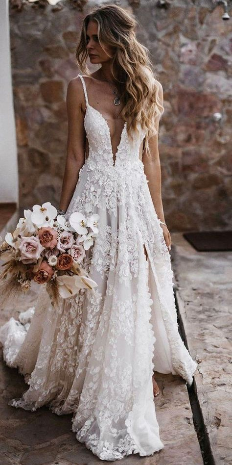 12 Barnyard Wedding Dresses To Inspire Any Bride Barnyard wedding dresses are perfect because they look fantastic in the background of a rustic barn.Take a look at some of these photo. Country Wedding Dresses, Dream Wedding Dresses, Bridal Dresses, Country Weddings, Romantic Weddings, Outdoor Weddings, Summer Weddings, Romantic Lace, Lace Weddings