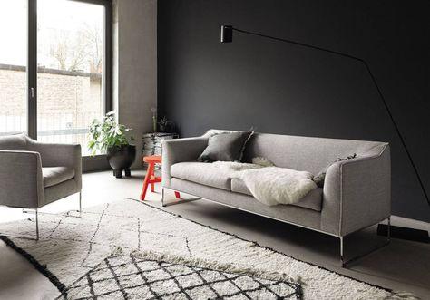 Le Noir Blanc S Invite Au Salon Elle Decoration Salon Gris