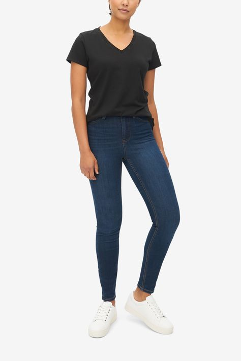 Black Cotton Jersey, V Neck T-Shirt