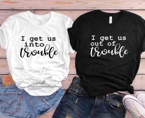 Cute Best Friend Shirts - Funny Best Friend Shirts - I get us into trouble shirts - Matching Shirts - Troublemaker Shirts - Best friend gift THIS LISTING IS FOR ONE SHIRT 1. Chose size and color of shirt - add to cart 2. Go back choose more sizes/colors as needed 3. Before entering payment