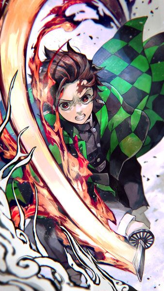 Tanjiro Flame Kimetsu No Yaiba 4k Hd Mobile Smartphone And Pc Desktop Laptop Wallpaper 3840x2160 1920x1080 2160x3840 1080 Anime Demon Slayer Anime Demon