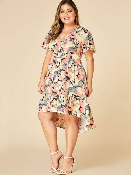Plus Size Random Floral Crossed Front Design V Neck Dress Dresses Plus Size Dresses V Neck Dress