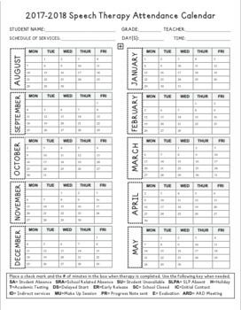 Speech Therapy Attendance Calendar And Daily Notation Logs Updated