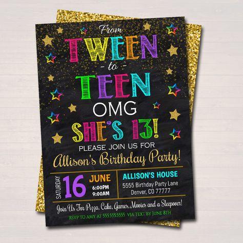 EDITABLE Tween To Teen 13th Birthday Party Invitation, Omg! 13th Birthday Girl Tween Invite, Birthday Digital Sleepover, INSTANT DOWNLOAD