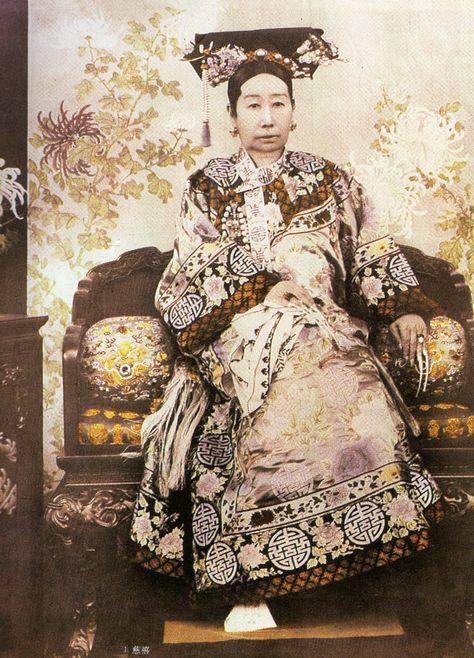 The Empress Dowager Cixi, 1835-1908, around 1890, when she would have been about fifty-five years old.