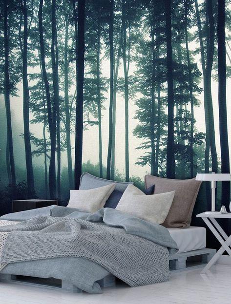 Foto Tapete Dark Forest Wald Schlafzimmer Tapeten Fototapete