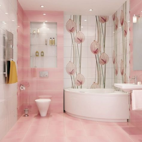 peinture salle de bains en rose pâle et blanc à motifs floraux tendres