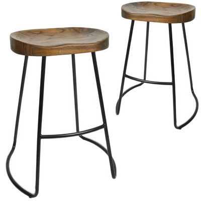 Dwellhome 65cm Vintage Style Elm Wood Counter Stools Reviews Temple Webster Wooden Bar Stools Bar Stools Backless Bar Stools