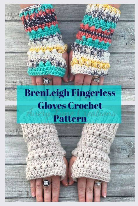 BrenLeigh Fingerless Gloves Crochet Pattern is a fun and quick pattern to make. patterns fingerless gloves BrenLeigh Fingerless Gloves pattern by Avery Lane Creations Hand Crochet, Knit Crochet, Crochet Style, How To Crochet, Quick Crochet Gifts, Crochet Projects To Sell, Crochet Cup Cozy, Fingerless Gloves Crochet Pattern, Ideas