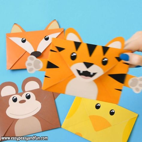 Fun printable animal envelopes - such a cool craft for kids to make. This activi...