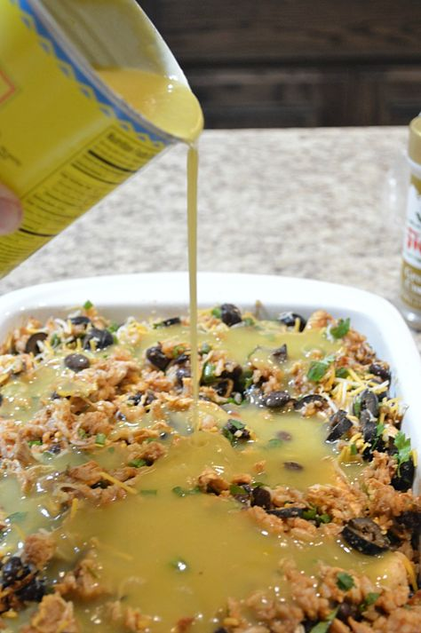 Chicken Enchilada Casserole. My family is completely addicted to this easy to make completely delicious meal!