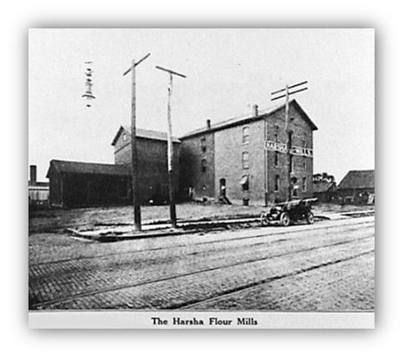 Harsha Flour Mill was located on 8th Street was damaged by fire Jan. 12, 1922. On Feb. 2 1925, sparks from a grain elevator  caused  the 3rd fire in the plant's history.   On Dec 7, 1953, the mill was completely destroyed and arson was suspected.