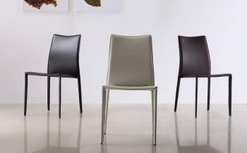 Marengo Leather Contemporary Dining Chair In Black Brown Or White Leather Dining Chairs Modern Dining Room Chairs Modern Modern Dining Room