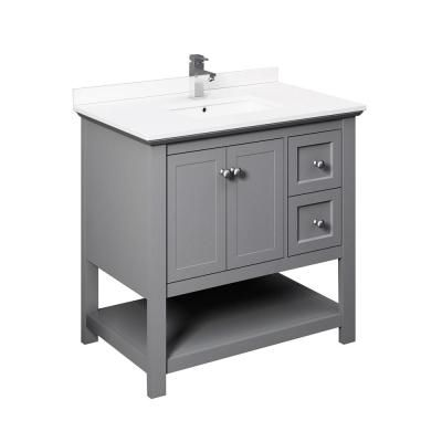 Fresca Manchester 36 In W Bathroom Vanity In Gray With Ceramic