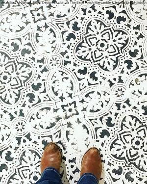 Anatolia Tile Stencil Painted Concrete Floors Stenciled Floor Stenciled Tile Floor