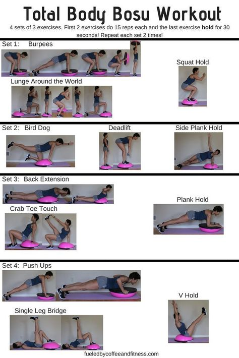 Total Body Bosu Workout - Fueled by Coffee and Fitness. 30 minute at home BOSU workout Fitness Workouts, Bosu Workout, Spin Bike Workouts, Whole Body Workouts, Cardio, Body Workout At Home, At Home Workouts, Ball Workouts, Training Workouts