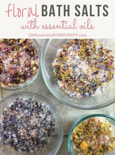 DIY floral bath salts -- a great source of minerals and trace elements, and help remove toxins from your skin. Plus depending on the essential oils you choose to use, they can help calm, improve sleep Bath Salts Recipe, Homemade Bath Salts, Diy Herbal Bath Salts, Diy Bath Salts With Essential Oils, Lavender Bath Salts, Lush Bath, Diy Mineral Bath Salts, Diy Rose Bath Salts, Diy Himalayan Bath Salts