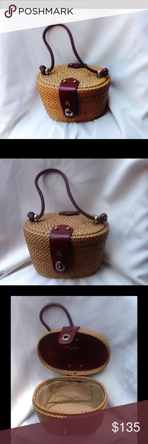 Vintage Etienne Aigner Nantucket Basket Purse really a must have from vintage designer Etienne Aigner 1960's - 1970's Handmade Nantucket basket handbag purse; inside lining very clean; great vintage condition Etienne Aigner Bags