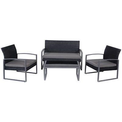 Details About 4 Pcs Outdoor Patio Garden Black Rattan Wicker Sofa