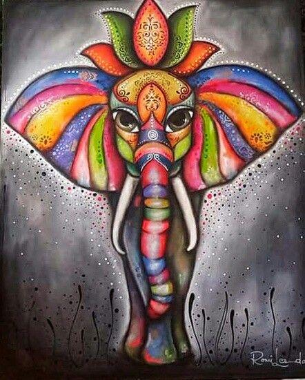 Romi Lerda Obras Pintura De Elefante Arte En Lienzo Elefantes Pintados