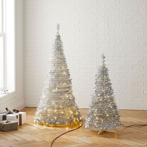 Led Pop Up Tinsel Tree Silver 4 In 2019 Tinsel Christmas Tree White Christmas Ornaments Silver Christmas Tree