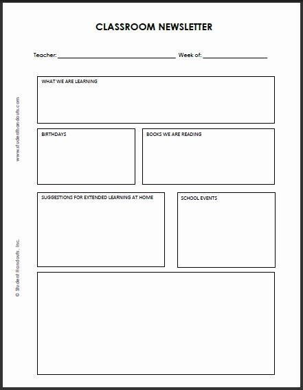 Free Newsletter Templates For Teachers Unique Blank Classroom