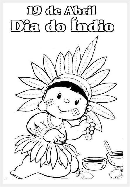 Desenhos Para O Dia Do Indio Para Colorir Dia Do Indio