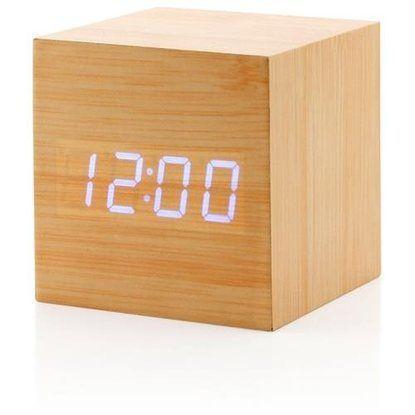 Ultra Modern Wooden Led Digital Alarm Cube Clock Thermometer Timer Calendar Bamboo Alarm Clock Clock Wooden Clock