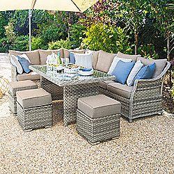 Nova Oyster Outdoor Garden Rattan Corner Sofa Dining Set With Stools Rattan Corner Dining Set Outdoor Patio Decor Garden Furniture Sets