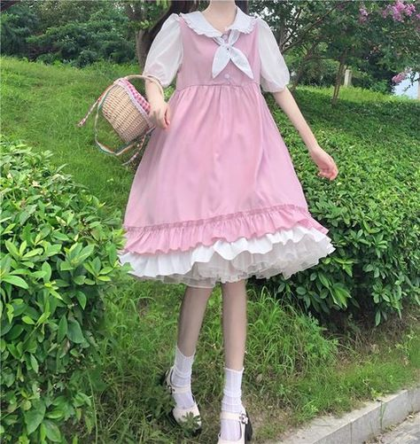 Japanese Summer College Style Sweety Soft Girly Women Dresses Kawaii Peter Pan Collar Bow Puff Dress Ruffles Girly Pink Dress
