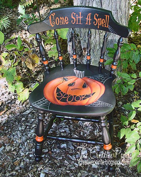I love taking old chairs and turning them into fun and unique decorating accents. Almost like magic, thi I love taking old chairs and turning them into fun and unique decorating accents. Almost like magic, this chair, which was once boring a. Retro Halloween, Holidays Halloween, Halloween Decorations, Happy Halloween, Vintage Halloween Crafts, Halloween Witches, Halloween Design, Halloween Costumes, Hand Painted Chairs
