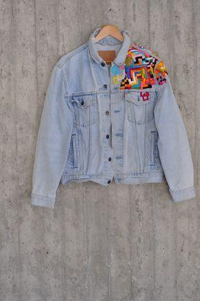 90's Levis lee diesel Jacket Vintage upcyceled Jacet Jeans Retro Blue Levis Denim Vintage Jacket Distressed Patched Jeans Reworked by MyQueensWish on Etsy