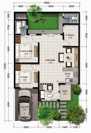 One Storey House Plan Ground Denah Rumah Rumah Minimalis Desain Rumah