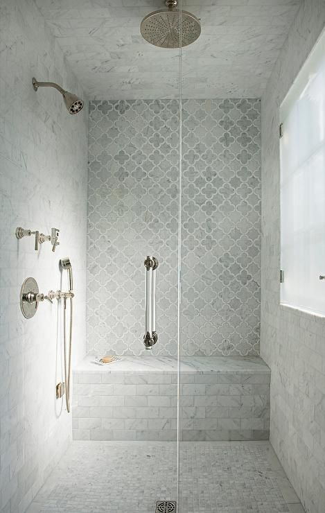 bathroom marble Morgan Harrison Home - Seamless glass walk-in shower boasts a glass and nickel handle and a round nickel rain shower head fixed to gray marble ceiling tiles over gray marble grid floor tiles. Bad Inspiration, Bathroom Inspiration, Interior Inspiration, Bathroom Ideas, Kitchen Clean, Master Bathroom Shower, Bathroom Showers, Marble Showers, Tiled Showers