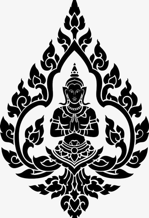 Thai buddha black pattern material PNG and Clipart